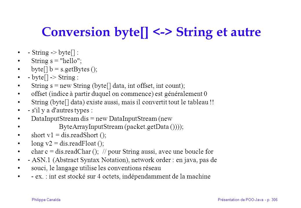Conversion byte[] <-> String et autre